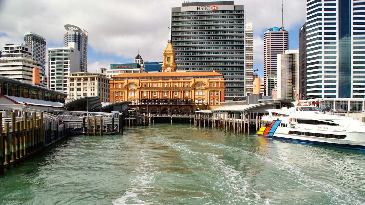 Boats docked in the harbour in Auckland with a backdrop of buildings