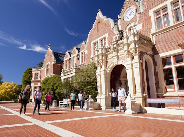 Students walk down a main area of Lincoln University's campus