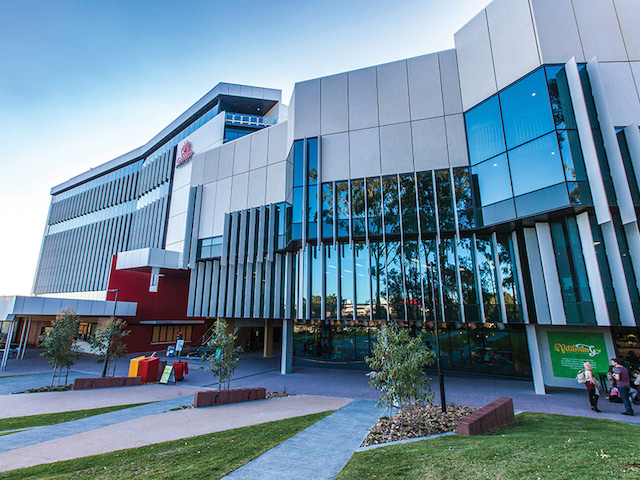 Two gray buildings on Griffith's Gold Coast campus