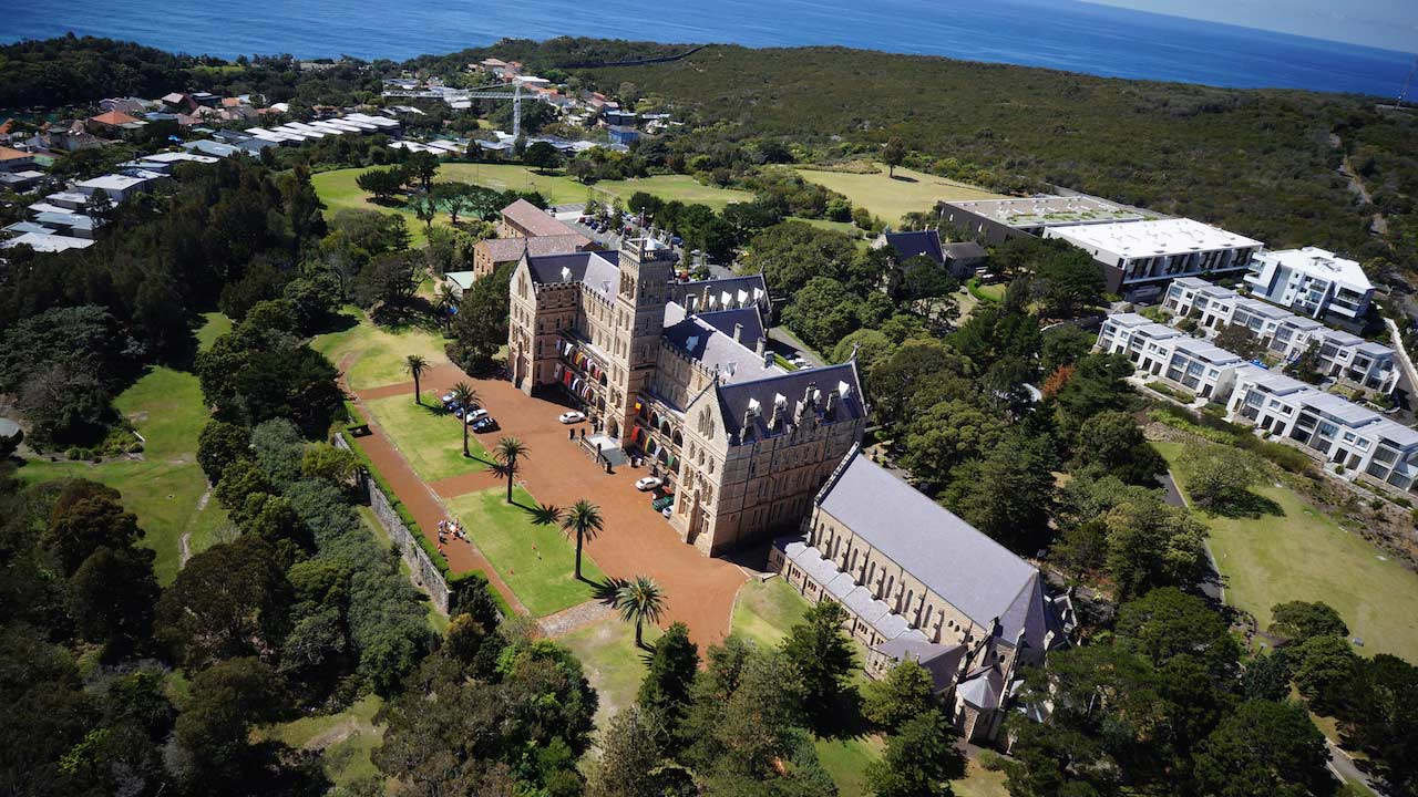 An aerial view of ICMS's campus in Manly, Australia