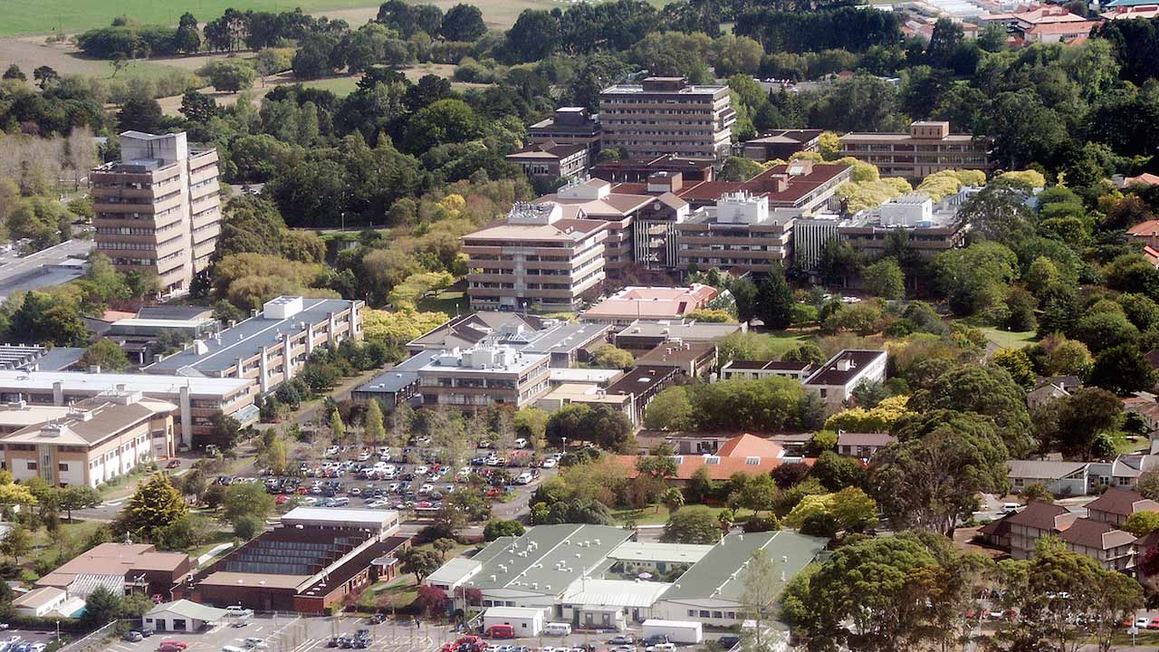 A birds eye view of Massey University Palmerston North campus during the day
