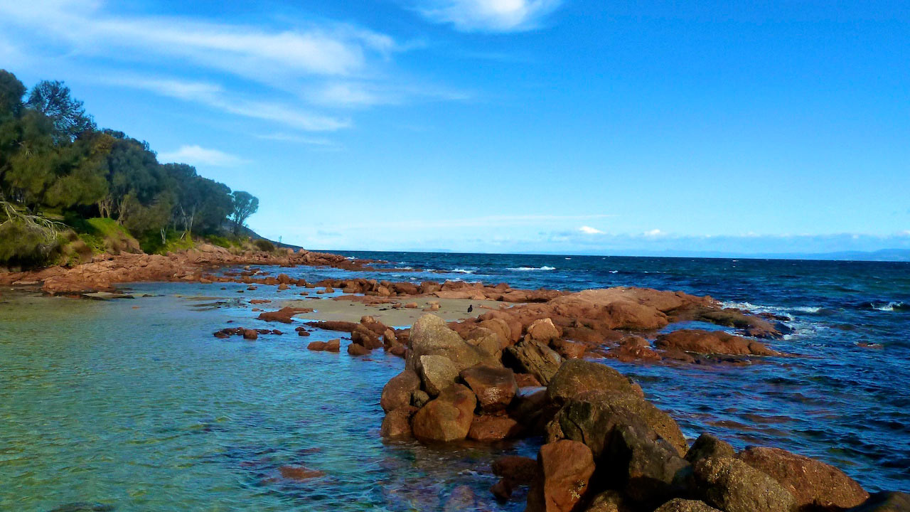 Brown rocks jut out into blue ocean water running parallel to a treelined coast near Perth, Australia