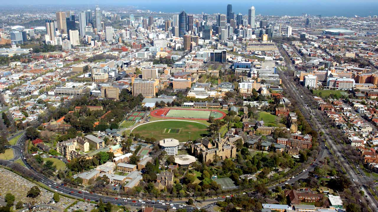 An aerial view of downtown Melbourne