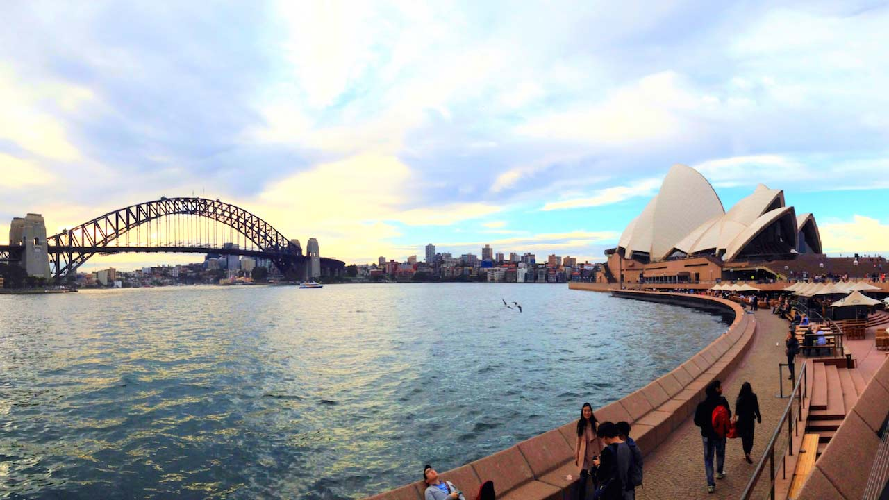 View from the Sydney Harbour of the Opera House and the Sydney Bridge
