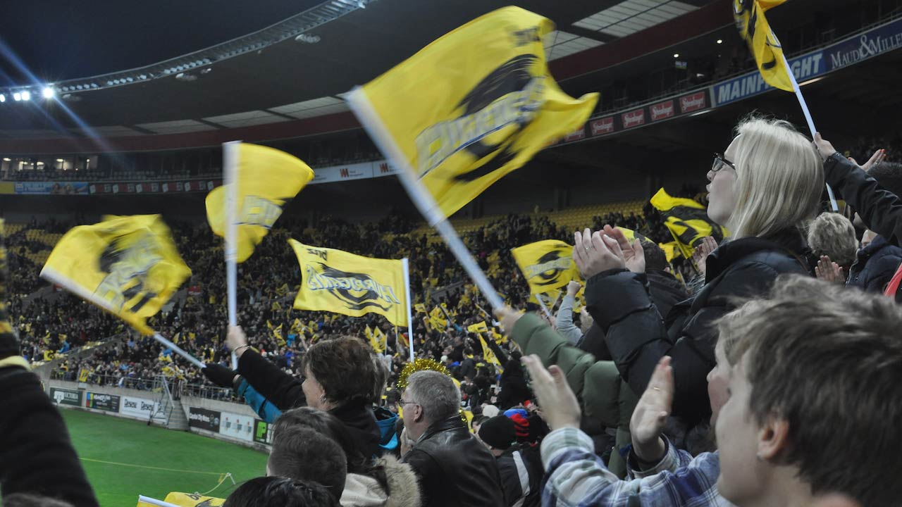 Fans wave yellow flags at a local rugby match