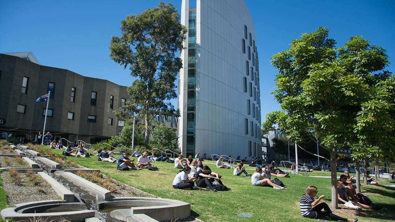 Students sit in groups on a grassy hill in front of a few buildings on Deakin's campus on a sunny day