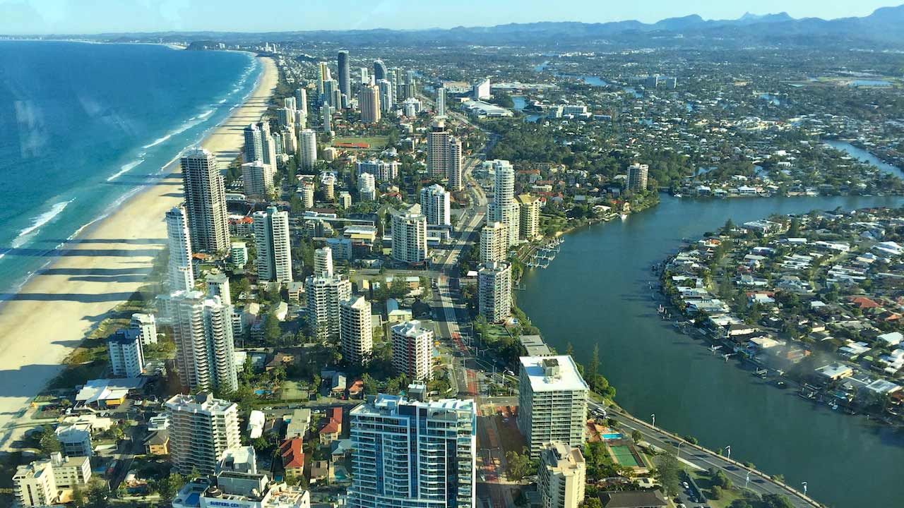 An aerial view of the Gold Coast during the day