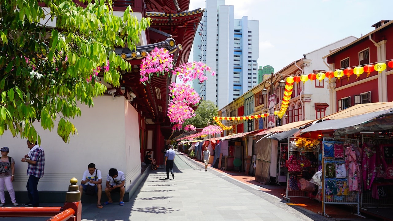 A colorful market street in Singapore