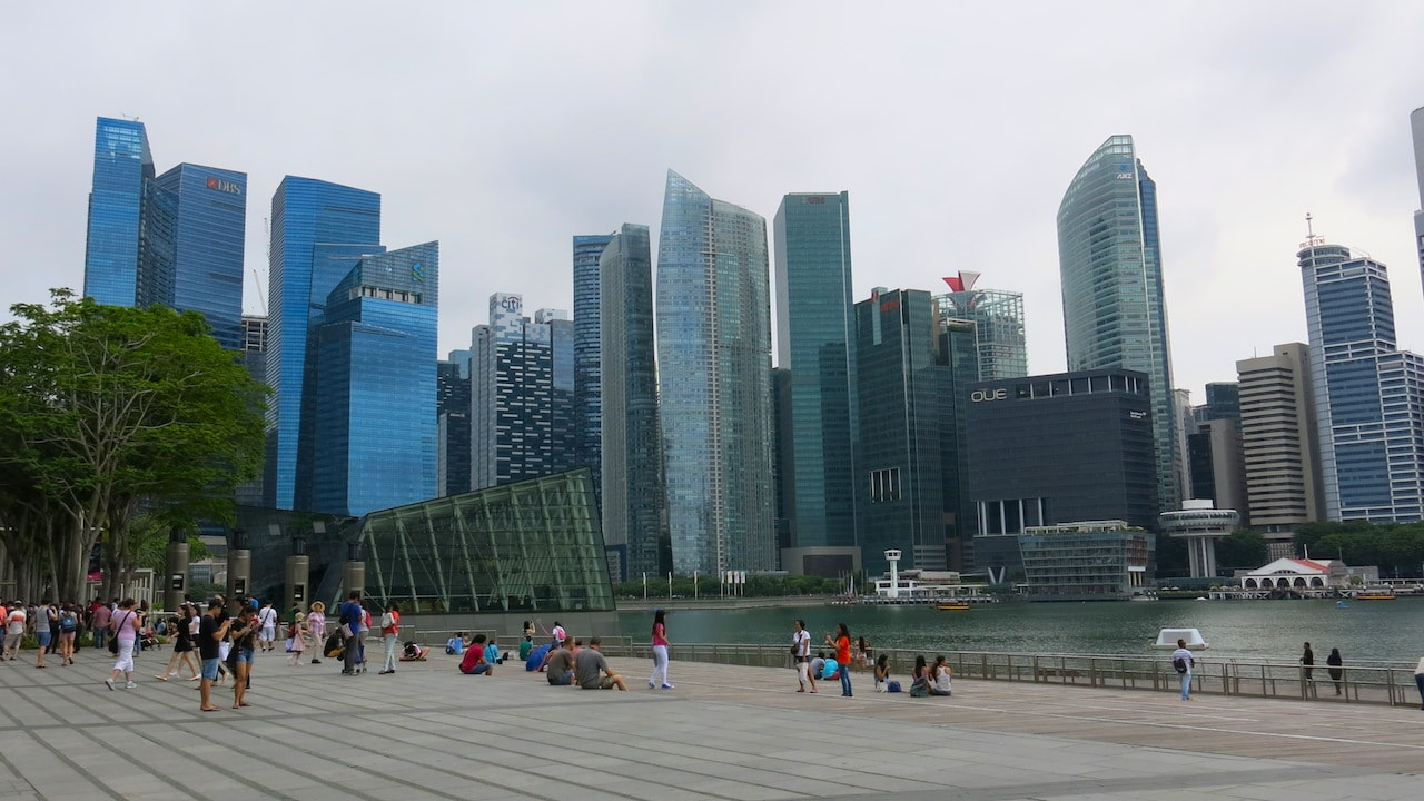 People hang out in a park in Singapore