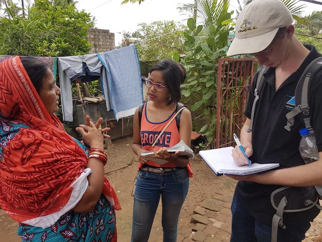 Interns conducting an interview for a project in India